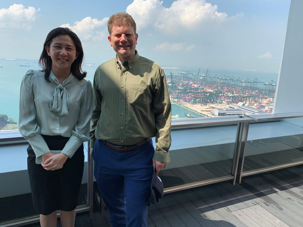 Pictured: Commissioner Daniel B. Maffei with Ms. Ho Ghim Siew, Head of Group Commercial, Strategy &  Cargo Solutions, PSA International.