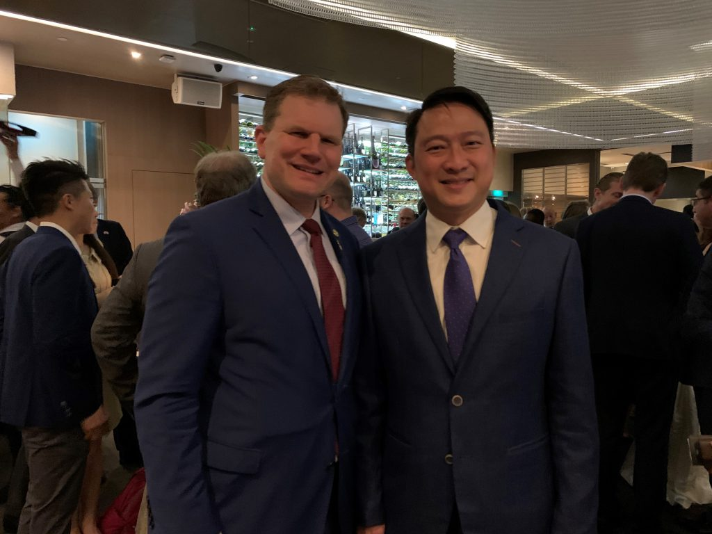 Pictured: Commissioner Daniel B. Maffei with Mr. Lam Pin Min, Senior Minister of State.
